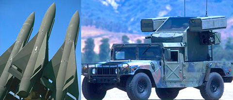 photo montage, three missiles and hummer vehicle with surveillance equipment